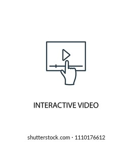 Interactive Video concept line icon. Simple element illustration. Interactive Video concept outline symbol design from Augmented reality set. Can be used for web and mobile UI/UX