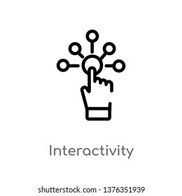 interactivity vector line icon. Simple element illustration. interactivity outline icon from augmented reality concept. Can be used for web and mobile