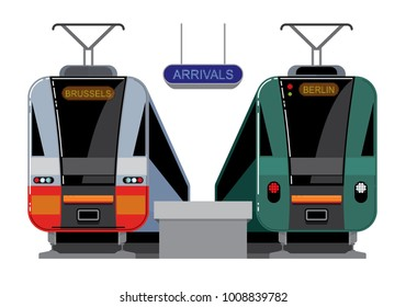 Intercity or commuter trains arrived at the railroad station, abstract design of passenger cars, frontal view. Vector illustration