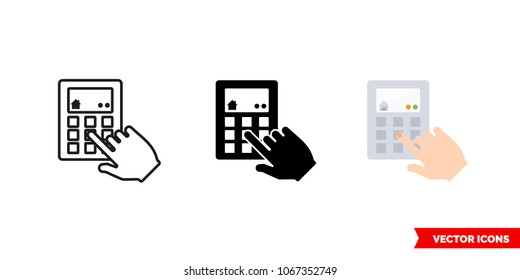 Intercom icon of 3 types: color, black and white, outline. Isolated vector sign symbol.
