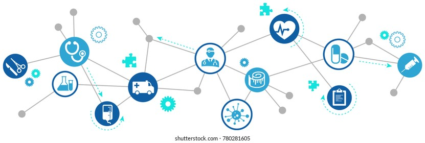 Interconnected healthcare concept vector