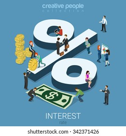 Interest rate percent flat 3d isometry isometric financial concept web infographics vector illustration. Monay dollar cent coins micro male female and big percentage sign. Creative people collection.