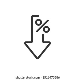 Interest rate reduction or percent down thin line icon.  Vector illustration eps 10