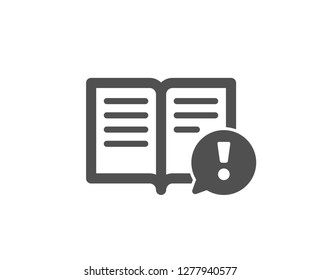Interesting facts icon. Exclamation mark sign. Book symbol. Quality design element. Classic style icon. Vector
