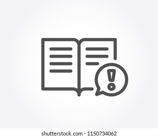 Interesting facts line icon. Exclamation mark sign. Book symbol. Quality design element. Classic style. Editable stroke. Vector