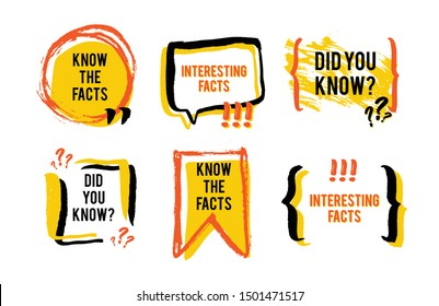 Interesting facts speech bubble icon. Fun fact idea label. Banner for business, marketing and advertising. Funny question sign for logo. Vector design element with hand brush strokes isolated on white