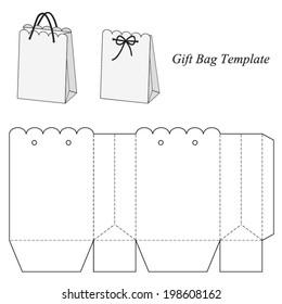 Interesting gift bag template, vector illustration