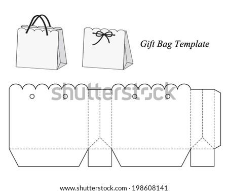 interesting gift bag template vector illustration stock vector