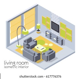 An interesting interior of the living room is isometric in gray, yellow and green colors. 3d