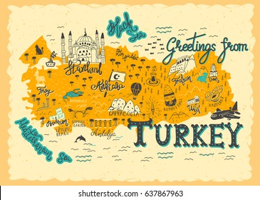Interesting Map of Turkey. Postcard concept with the most interesting place for visit.