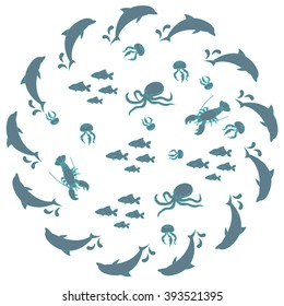 Interesting picture with the various inhabitants of the seas and oceans on white background