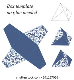Interesting pyramid box template with floral pattern, no glue needed. Vector illustration.