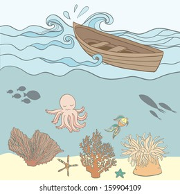 interesting scenic underwater vector illustration with cartoon octopus, corals, fishes and wooden boat. Lonely travel or pirate design picture. Fully editable illustration drawn in vector by hand.