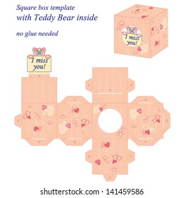 Interesting square box template with cute Teddy Bear inside, holding note I miss you. Vector illustration, no glue needed.