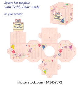 Interesting square box template with cute Teddy Bear inside, holding note Happy birthday. Vector illustration, no glue needed.