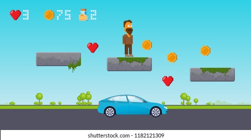 Interface 8 bit game, pixel art platformer. Level in urban street, with landscape, asphalt road, car, jumping over obstacles. Video game, bonuses, scenario with set of coins. Vector illustration.