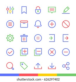 Interface & Apps Material Design Modern Flat Vector Icons Set