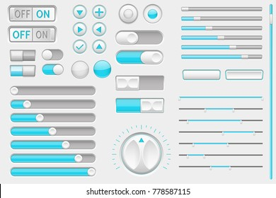 Interface buttons. Web toggle switch and push buttons, navigation buttons and slider bars. Vector 3d illustration