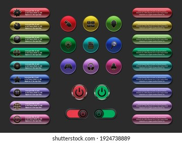 Interface colorful, web button with icon, power button with switch
