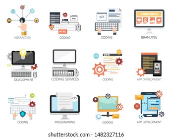 Interface design vector icons collection of  Interaction, Coding, Branding, Development, Coding Services, App Development, Programming . Interface design elements for mobile and web applications.