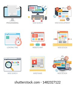 Interface design vector icons collection of  Programming, Web Search, Web Development, Loading time, Website Map, Web Design, Search, Wireframe. Interface design elements for mobile and web