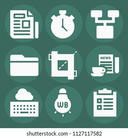 Interface filled set of vector icons such as newspaper, stopwatch, crop, tungsten, checklist, folder, keyboard