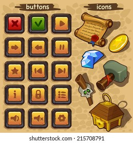 Interface game design ( buttons set and resource icon for game) vector
