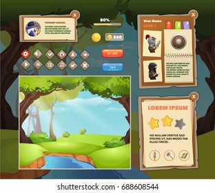Interface game design and buttons set for mobile games or apps. Vector illustration eps 10. Easy to edit.