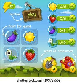 Interface game design (resource bar and resource icon for game) vector illustration  (part 1)