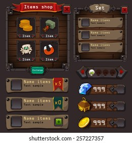 Interface game design (resource bar and resource icon for game) vector illustration