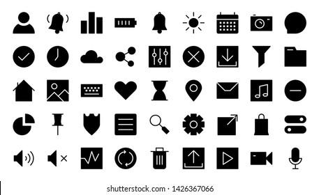 interface glyph icon symbol set