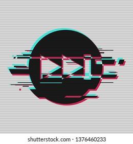 "Interface icon ""fast rewind"". Player interface icon..  Random digital error signal. Glitch with the image of a Interface icon ""fast rewind"".  Vector illustration"