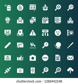 interface icon set. Collection of 36 filled interface icons included Upload, Search, Warning, Photo camera, Damper, Email, Wireframe, Minus, Like, Box, Pen, Bell, Landing page