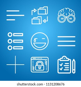 Interface icon set - outline collection of 9 vector icons such as lock, check list, laughing, nerd, folder, bullet, add, justification