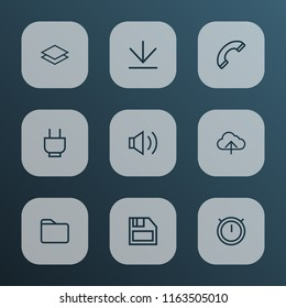 Interface icons line style set with second meter, dossier, downloading and other stopwatch elements. Isolated vector illustration interface icons.
