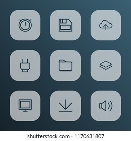 Interface icons line style set with socket, dossier, audio and other folder elements. Isolated vector illustration interface icons.