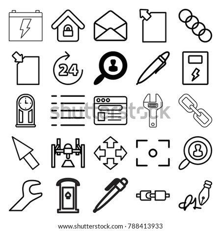 Interface Icons Set 25 Editable Outline Stock Vector Royalty Free