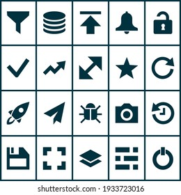 Interface icons set with bug, checkmark, reload and other floppy disk elements. Isolated vector illustration interface icons.