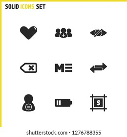 Interface icons set with eye, low battery and cancel elements. Set of interface icons and group concept. Editable vector elements for logo app UI design.