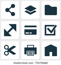 Interface Icons Set. Includes Icons Such As Scissors, Printer, Level And Other.