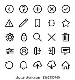 Interface icons set, linear style, isolated vectors