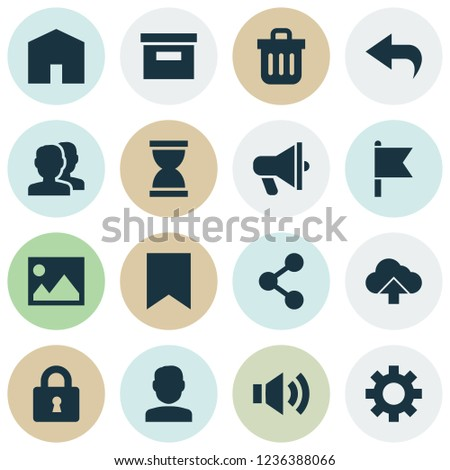Interface Icons Set Sound Archive Arrow Stock Vector