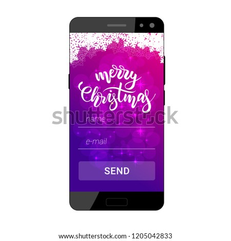 The Interface Of A Mobile Application For Sending Merry Christmas Greeting Card On Screen