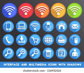 Interface and Multimedia Icons with Shadows.