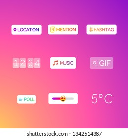 Interface in popular social media. Icons stories social media. Templates stories, polls, hashtag in social media. Vector illustration.