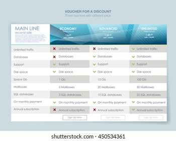 Interface for the site. ui ux vector banner for web app. Pastel pricing table, banner, order, box, button, list and bullet with plan for website in flat design
