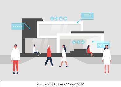 The interface of Smart home. New technologies. Lifestyle. Futuristic pop up windows. Data. Young character walking, standing and sitting. Remote control.