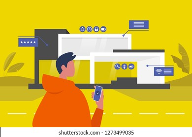 The interface of Smart home. New technologies. Lifestyle. Futuristic pop up windows. Data. Young male character standing in front of the building. Remote control.