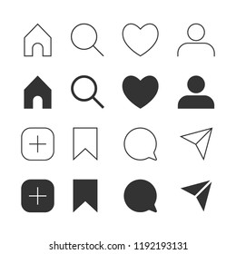 Interface social media. Icons buttons, comment, search, heart, like, user, story, home. Vector illustration.