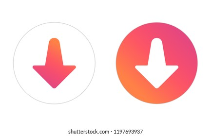 Interface social media. Popular social network for dating. Arrow to down. Vector illustration.